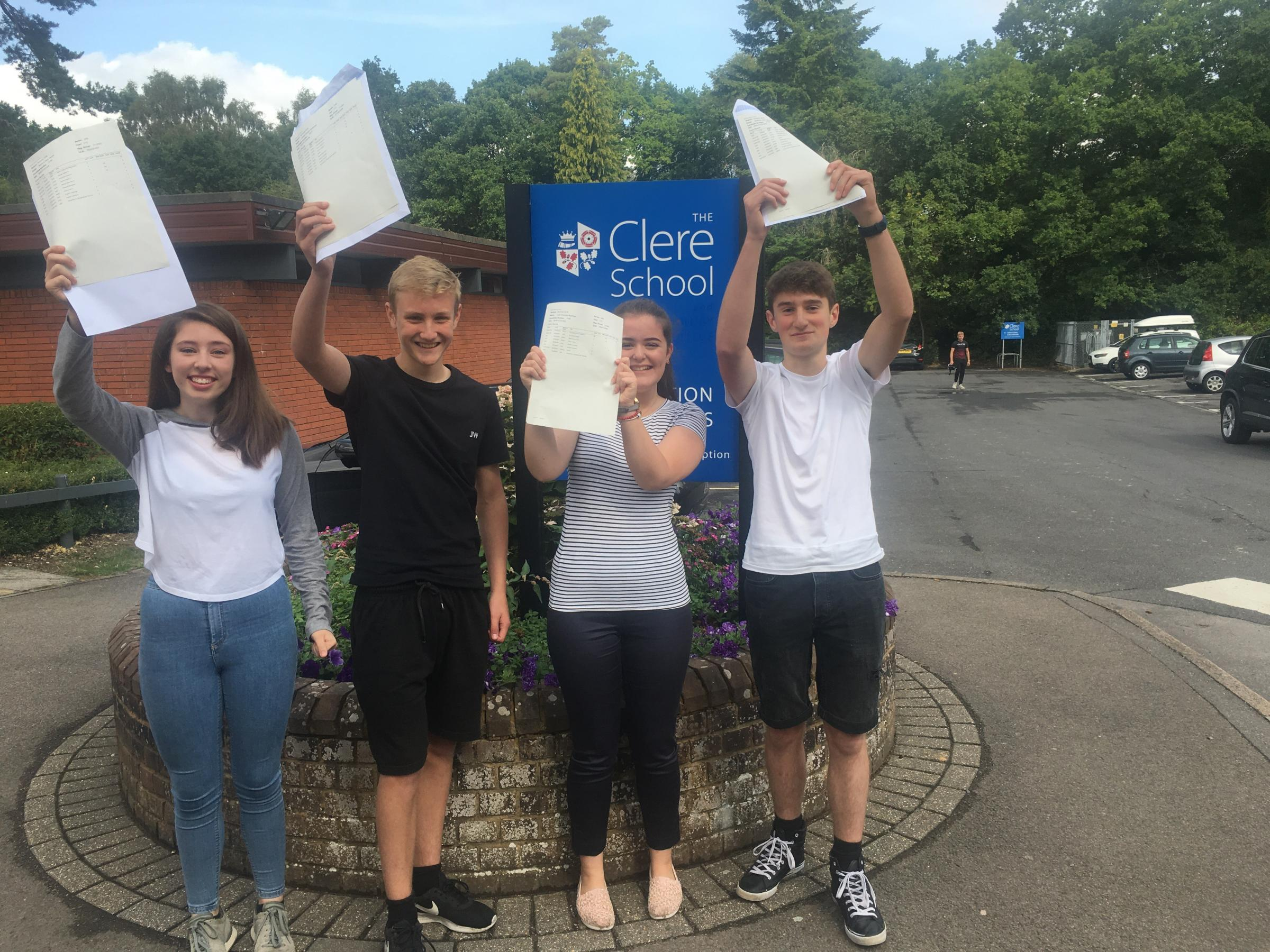 Students celebrate their results at The Clere School