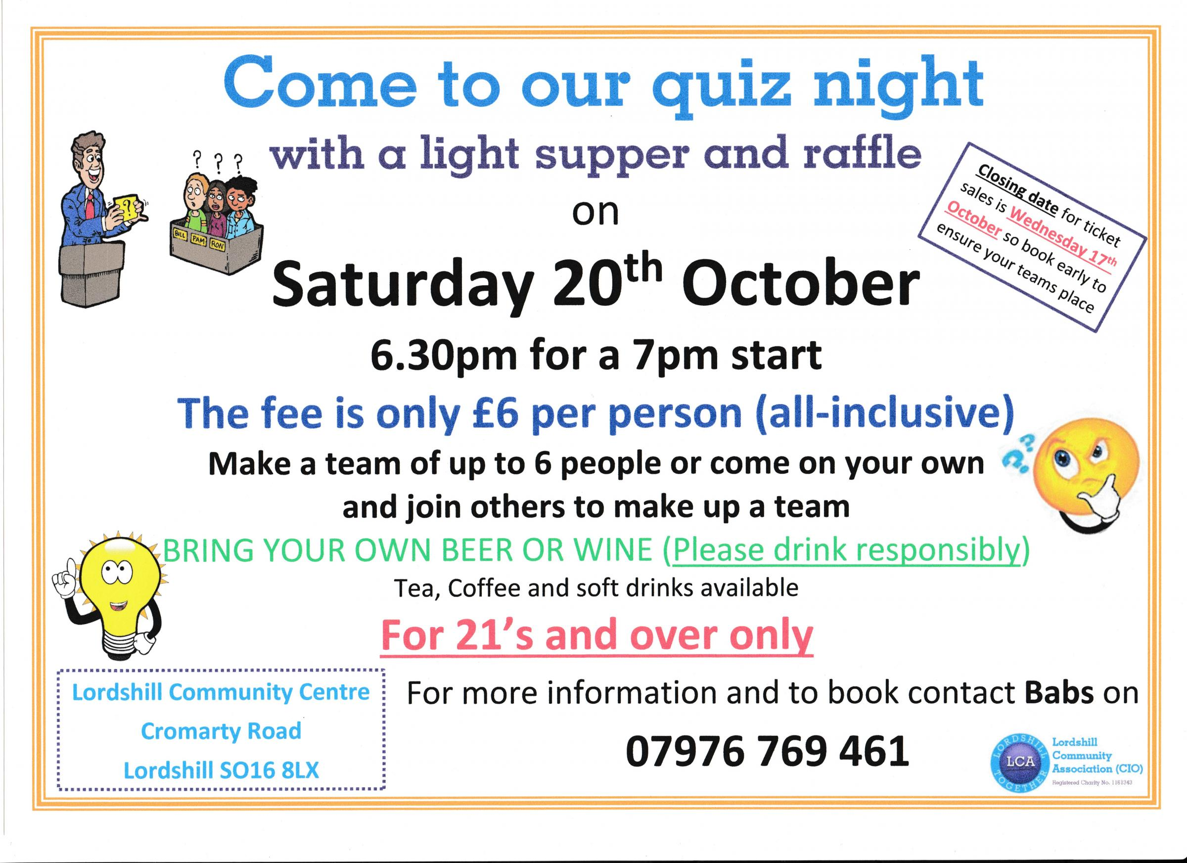 Quiz night with light supper