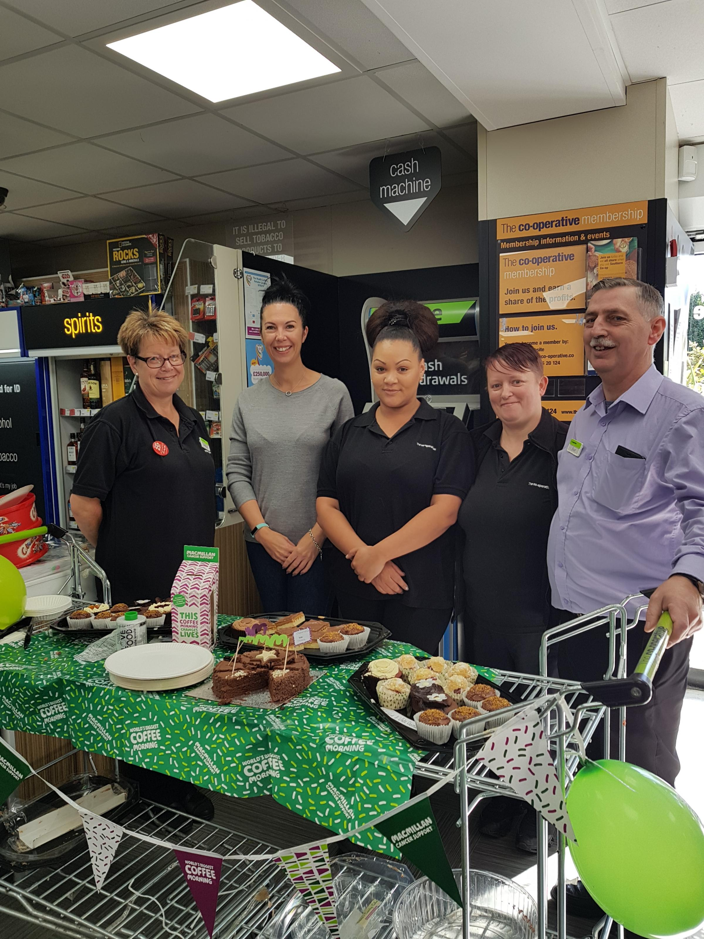 Staff at the Co-op store taking part in the World's Biggest Coffee Morning