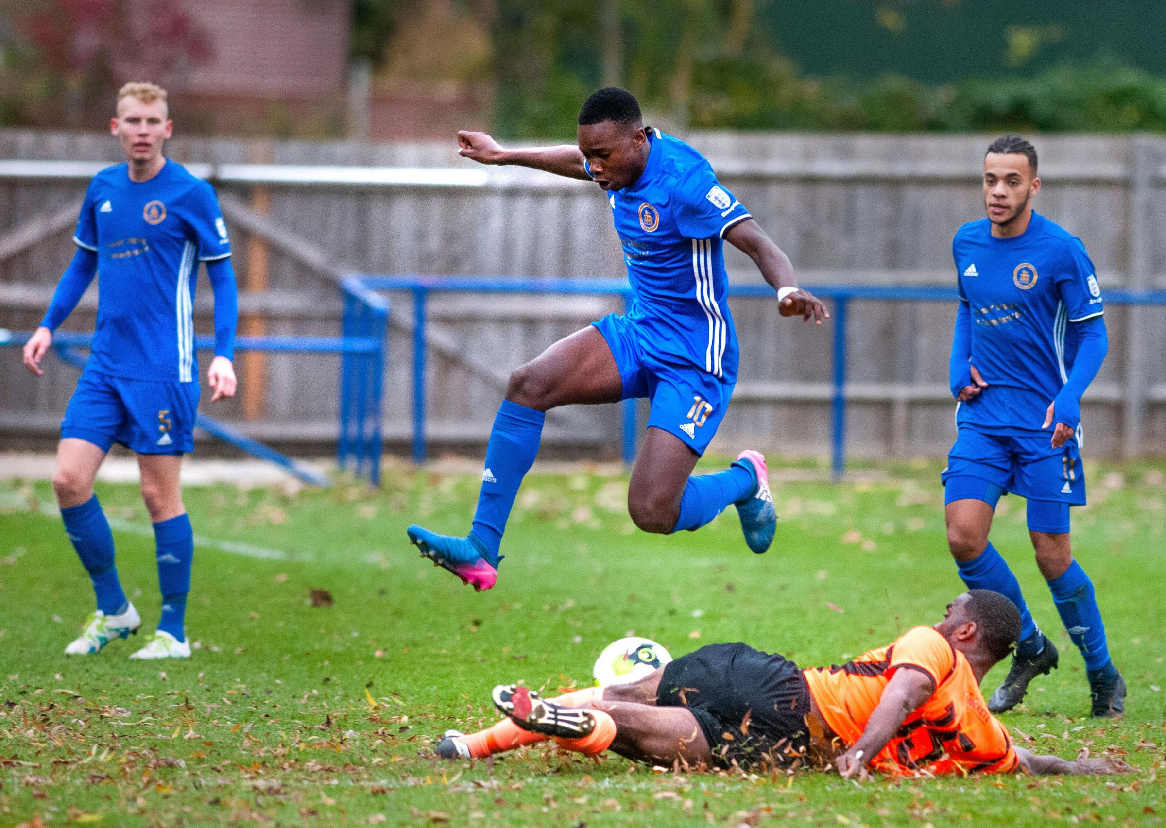 Andover Town's Shaquille Gwengwe goes airborne  Image: Andy Brooks