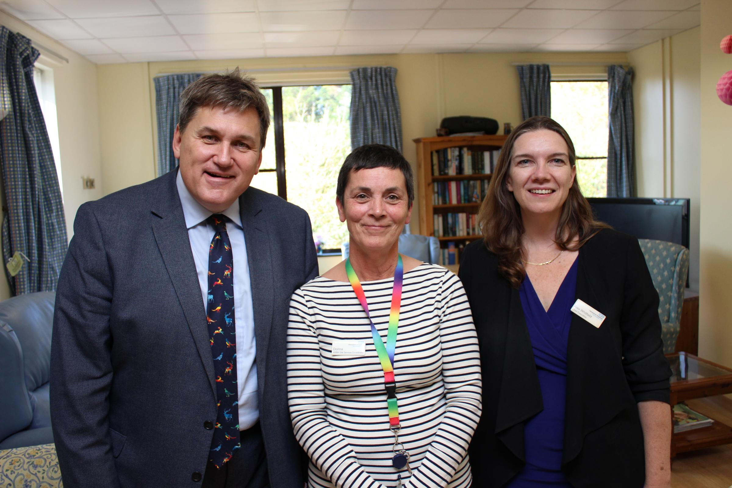 Donna McCormack (centre) with Kit Malthouse, MP for North West Hampshire, and Alex Whitfield, chief executive of Hampshire Hospitals NHS Foundation Trust