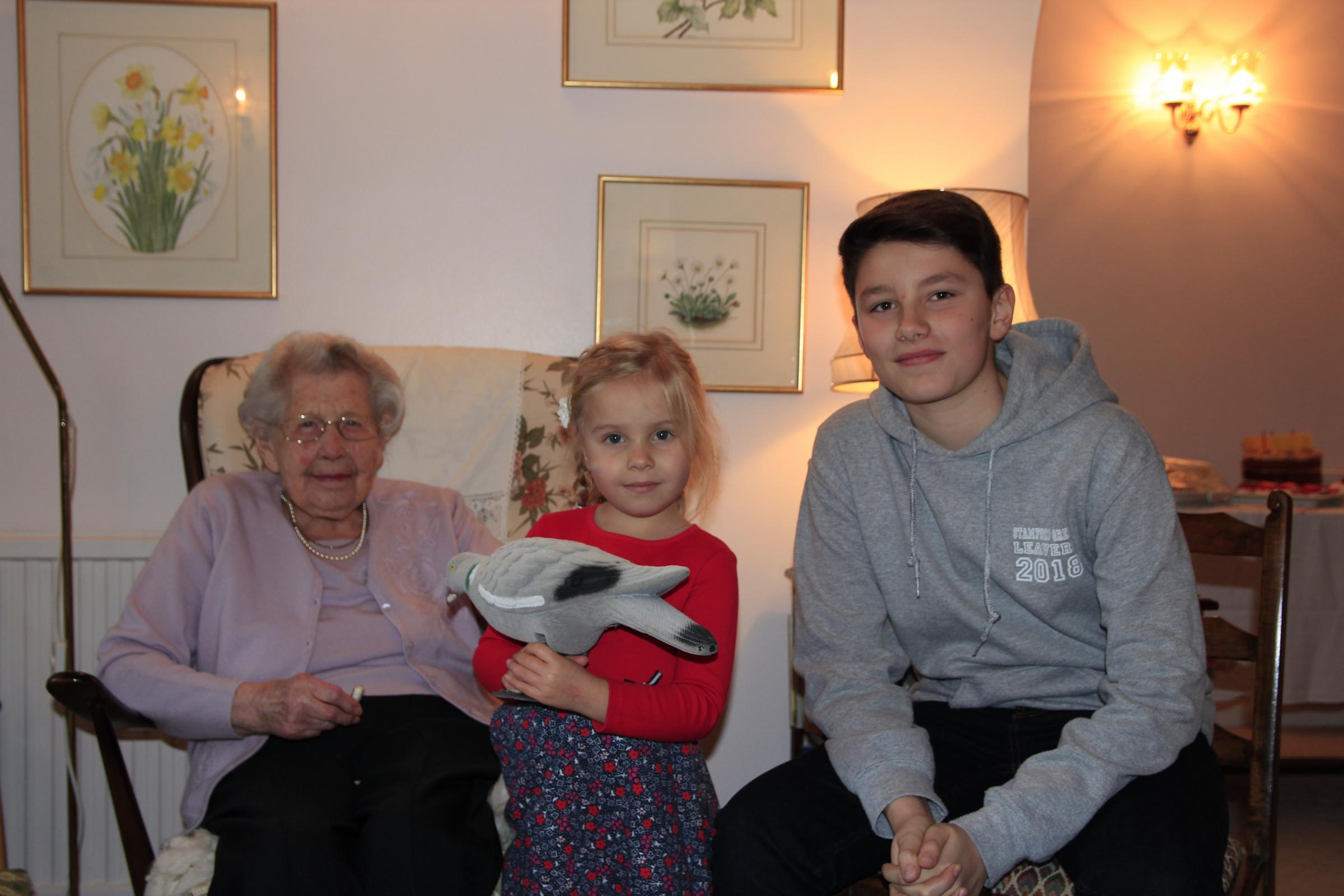 Eileen Knight with great grandaughter Darcie and grandson Oliver