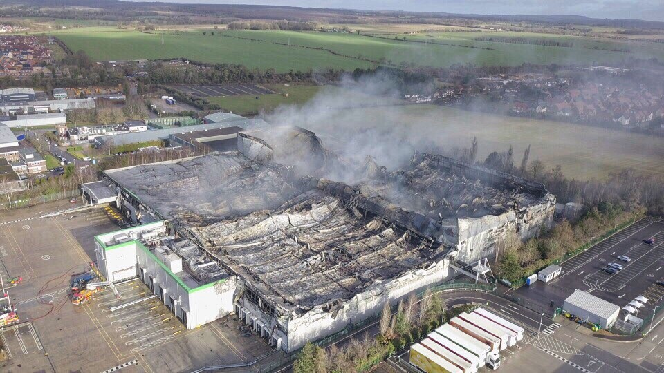Ocado's burnt out warehouse today. Image and video: Rich Warman