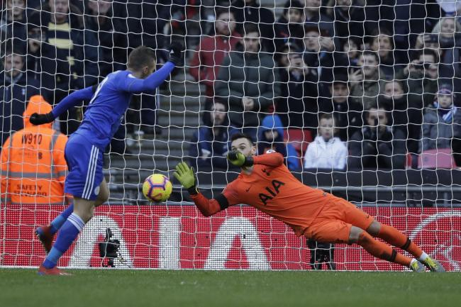 Hugo Lloris saves Jamie Vardy's penalty in Spurs' 3-1 win over Leicester