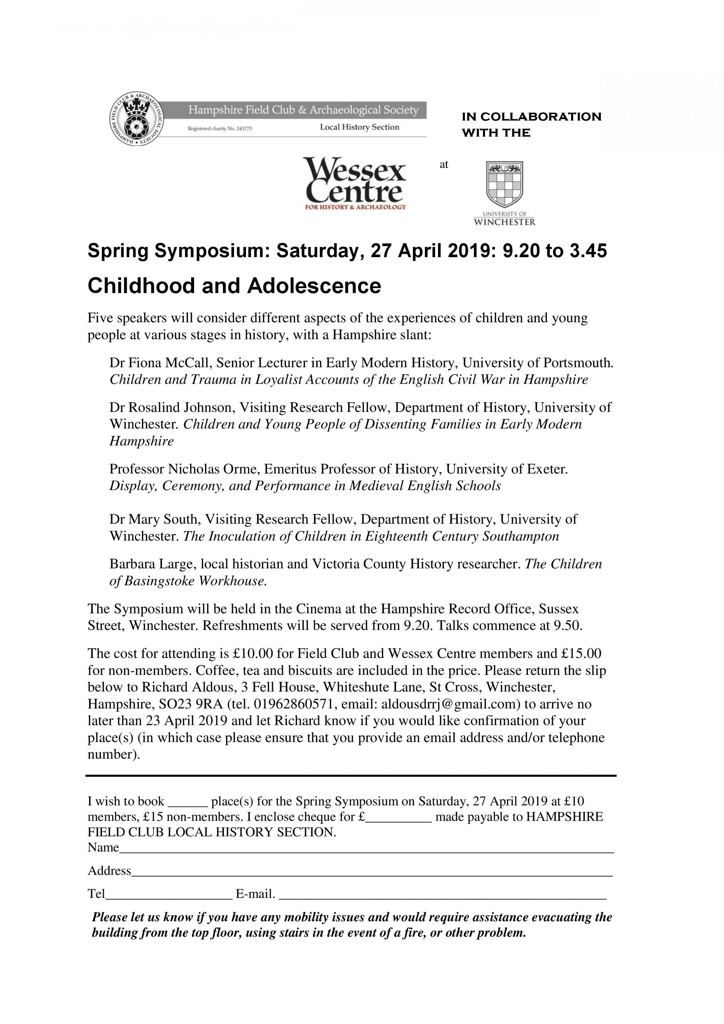 Childhood and Adolescence: Spring Symposium