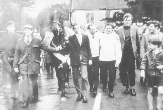 Highland Wedding being paraded through Fyfield after his 1969 Grand National win. Picture from the John Marchment collection