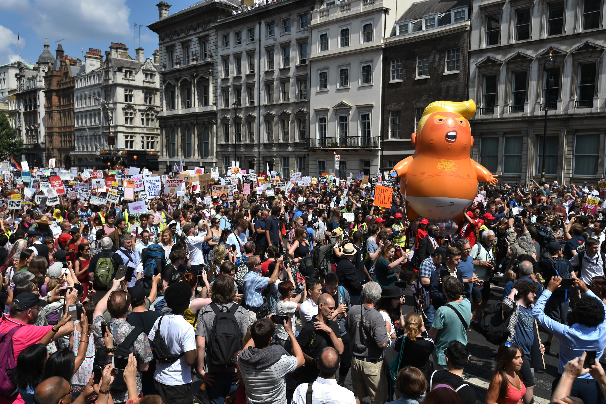 Protest at Donald Trump's visit