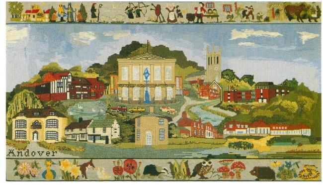 Andover section of the Test Valley Tapestry. Postcard © Test Valley Borough Council