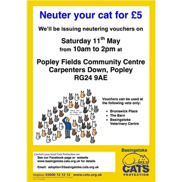 Basingstoke & District Cats Protection - Neuter your cat for £5!