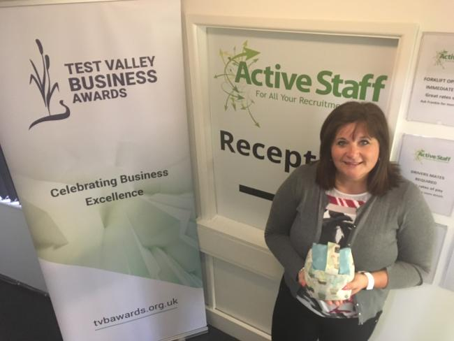 Lisa Armstrong of Active Staff with her TBVA entry award