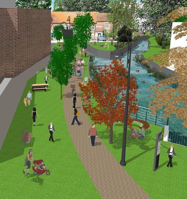 An artist's impression of what the Town Mills park could look like