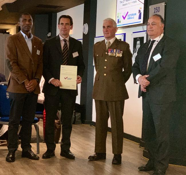 : Kofi Quartey, project manager medicine division HHFT, Lt Col (Retd) Russell Cooper, deputy operations director medicine HHFT,  Professor Tim Briggs CBE, Co-Chair of GIRFT,  Major Shipley MBE, SO2 Defence Engagement – Projects.