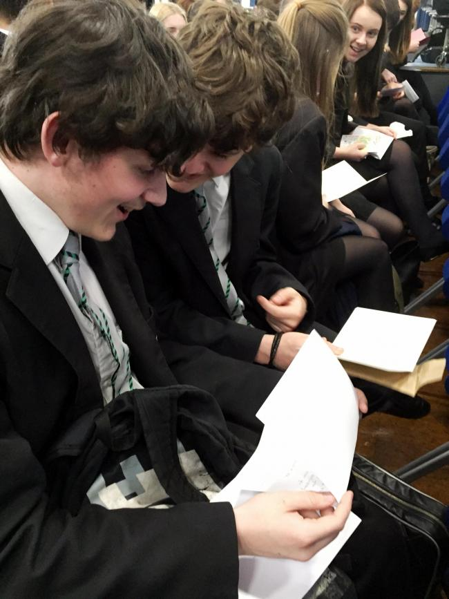 Harrow Way students reading their letters