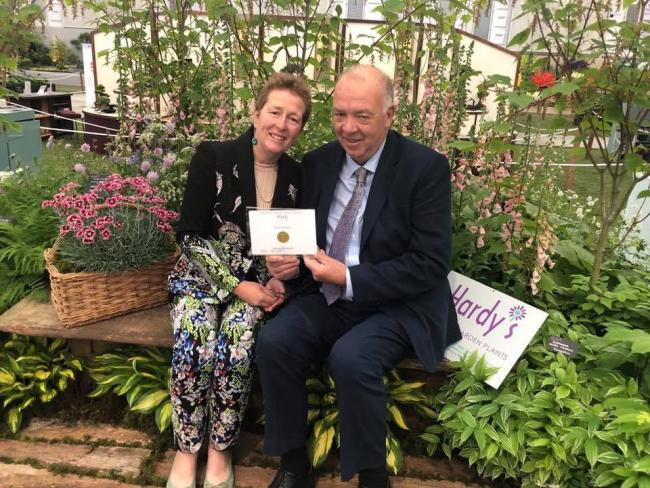 Rosy and Rob Hardy with their latest gold medal from the RHS Chelsea Flower Show